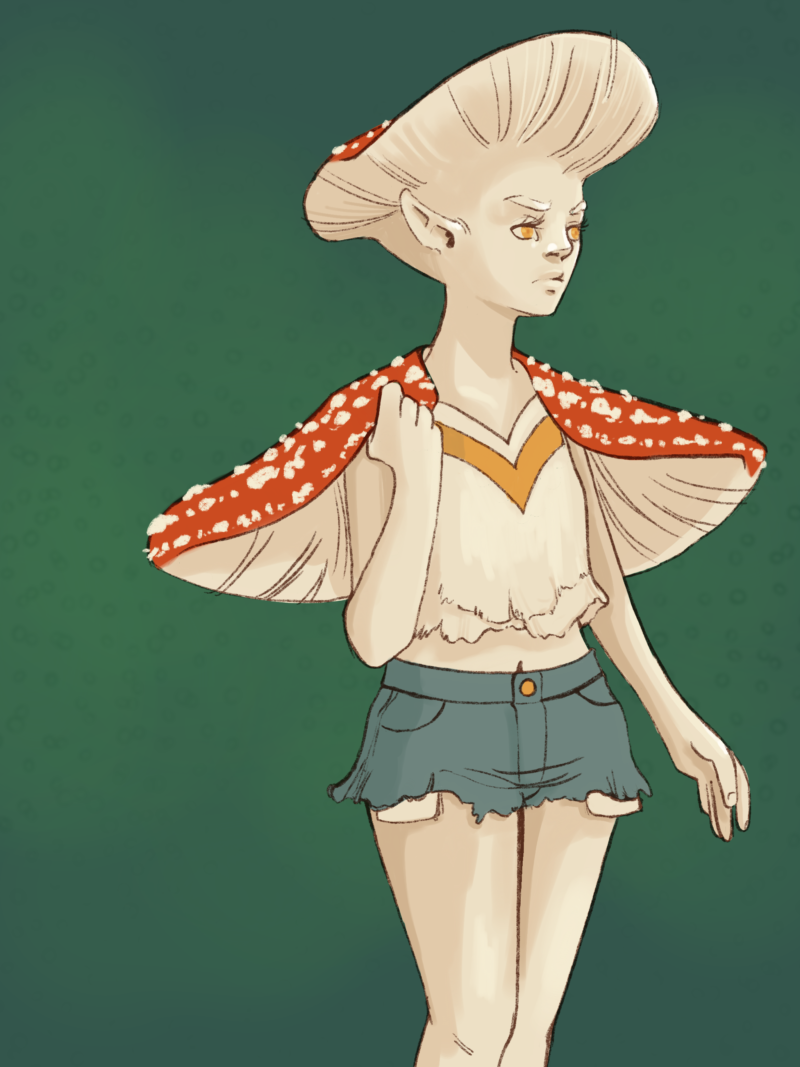 fashion portrait but of a fae based on the amanita redcap mushroom making up their hair and the cape they are wearing
