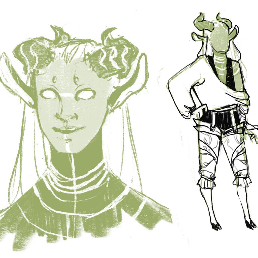 Portrait and fully body design of Lark