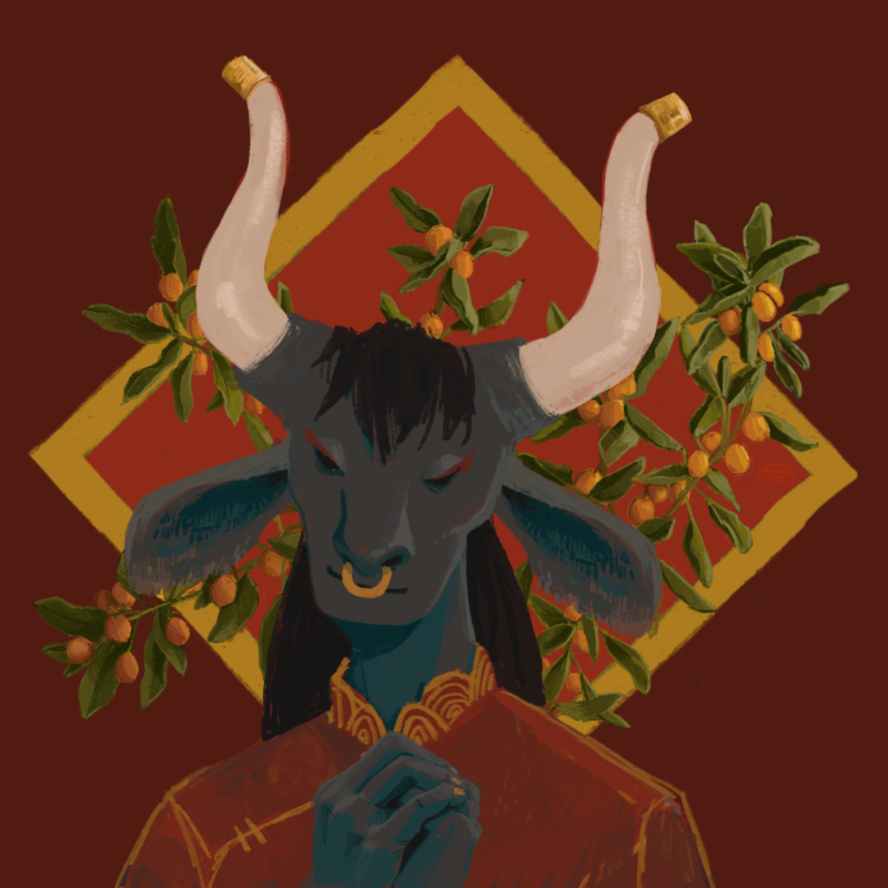 celebratory illustration for the Chinese year of the ox